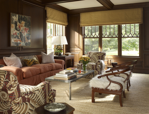 Wood paneled living room by Libby Cameron