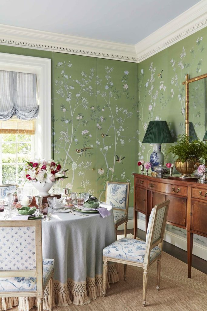 Green de Gournay Chinoiserie wallpaper dining room Caroline Gidiere Birmingham Alabama home