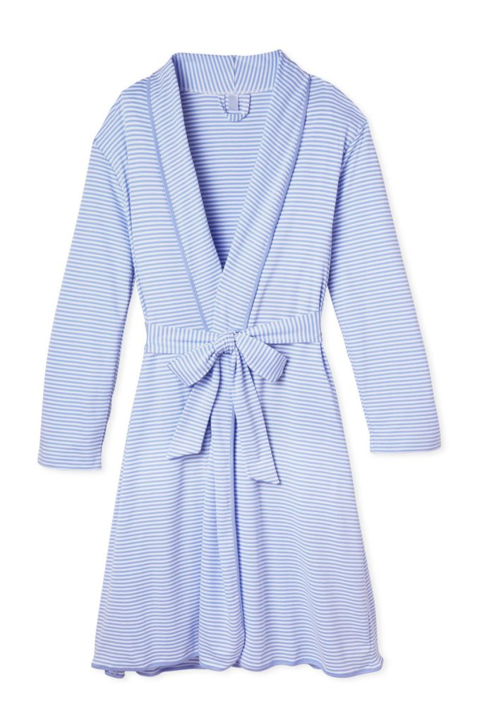 Blue and White Striped Cotton Robe by Lake Pajamas
