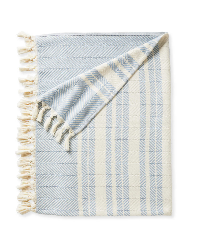 Palermo Cotton Throw Blanket Blue and White Striped Tassels