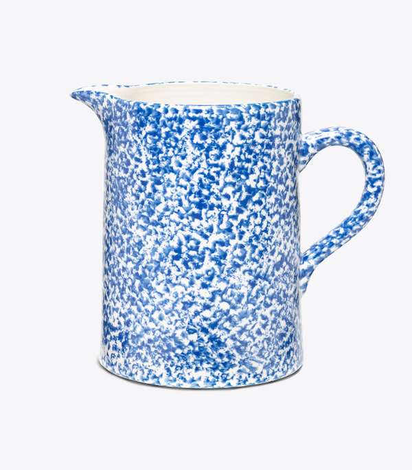 Spongeware Pitcher Blue and White