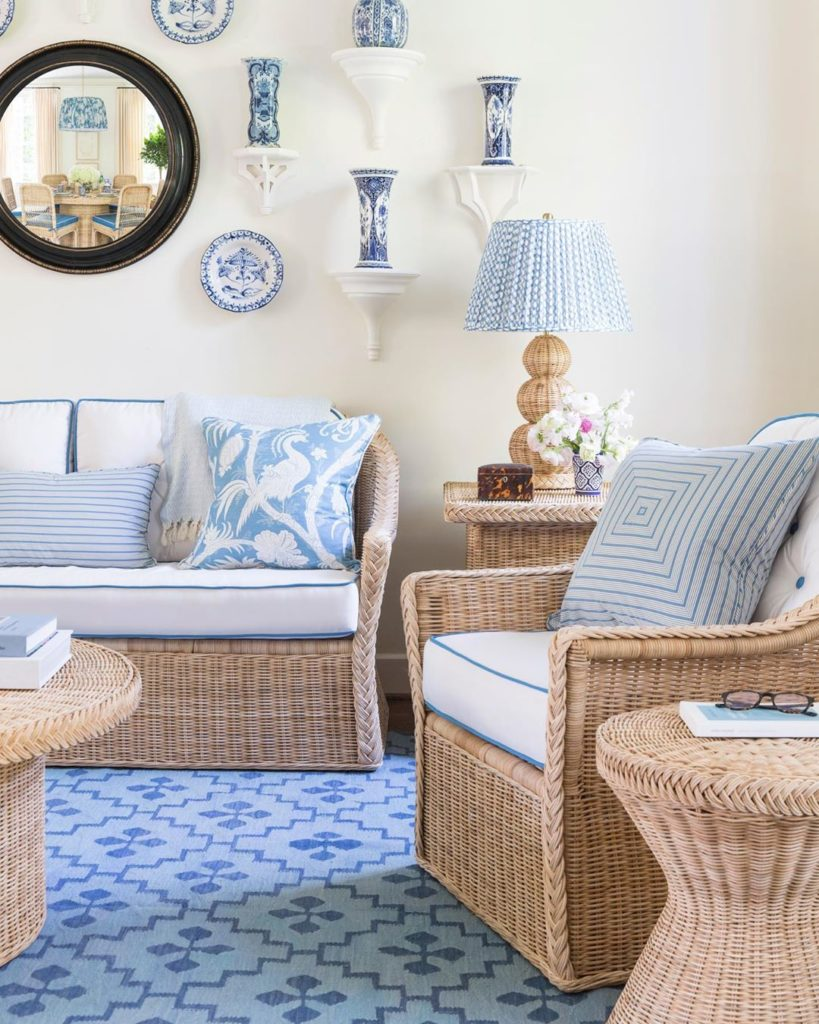 Sarah Bartholomew Design for Mainly Baskets wicker furniture collection living room Nashville home