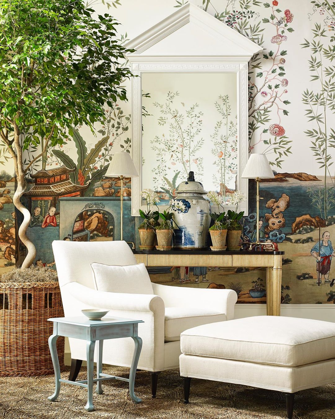 Mark D. Sikes for Chaddock Furniture collection sisal rug in living room with chinoiserie wallpaper