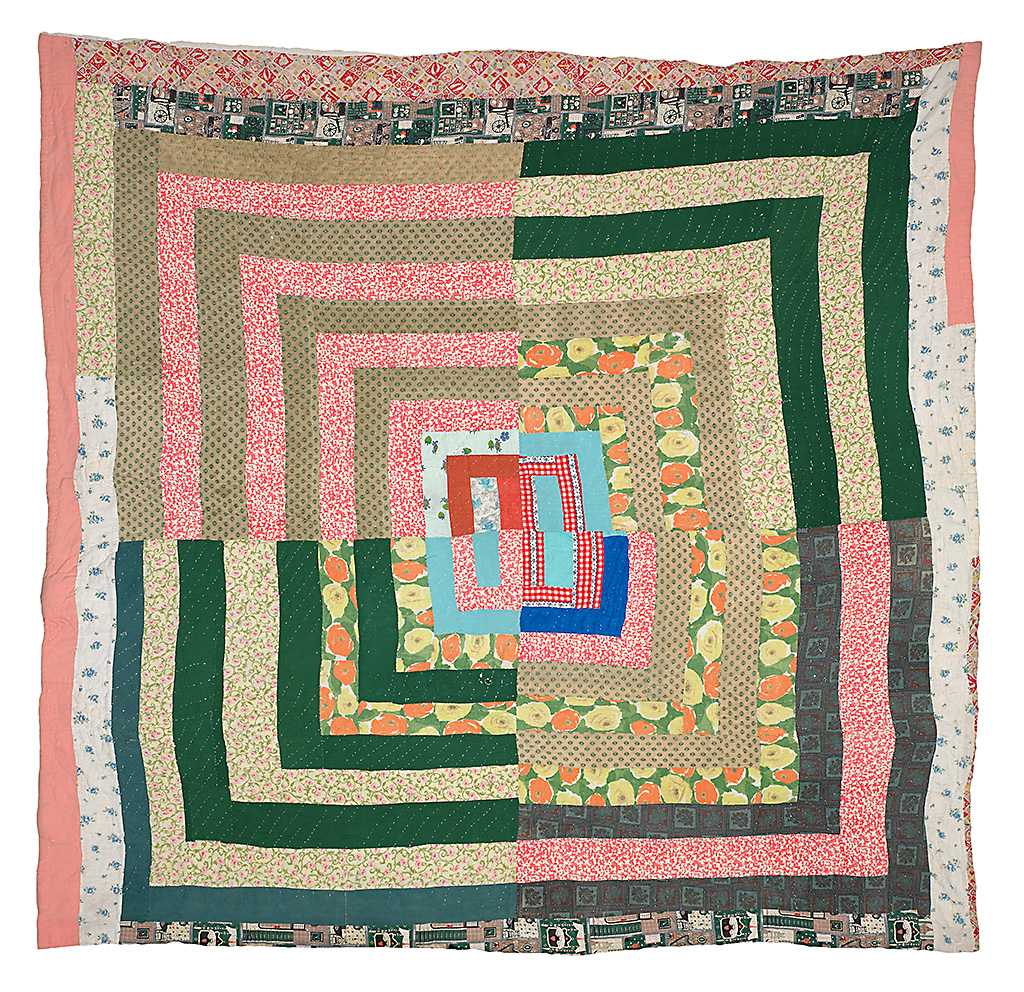 Hand-stitched quilt from Gee's Bend, Alabama. Housetop medallion.