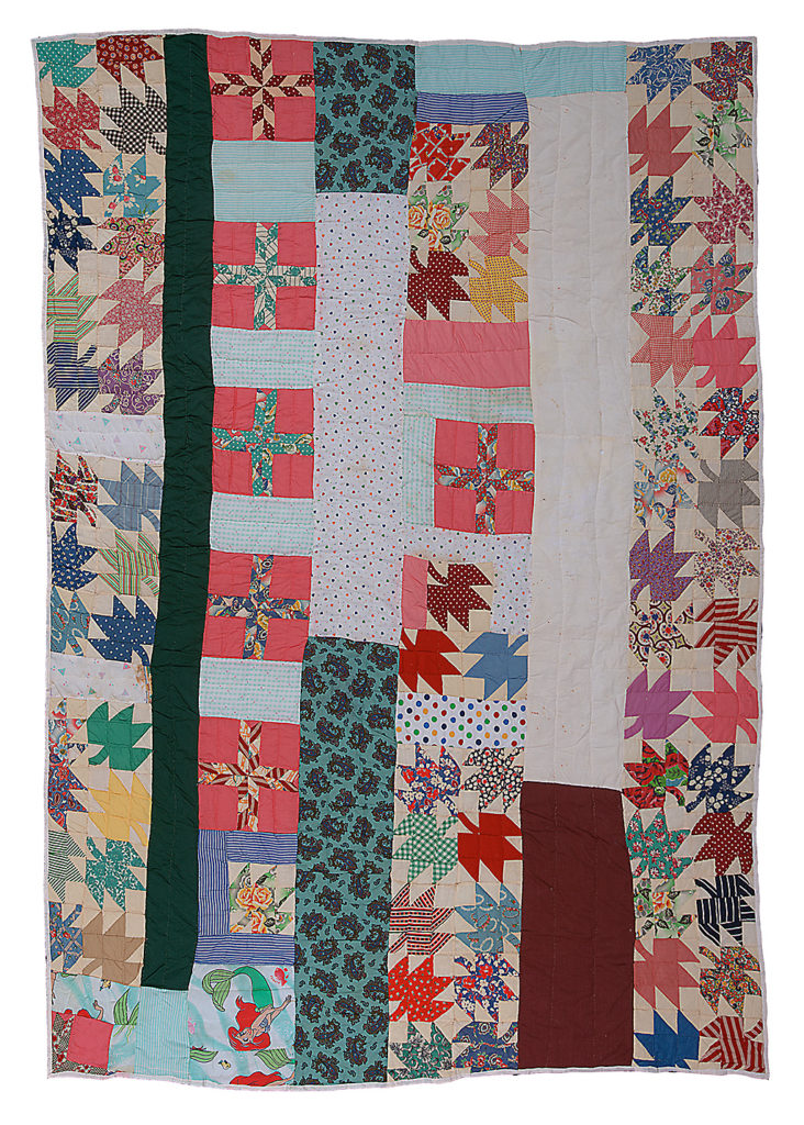Hand-stitched quilt from Gee's Bend, Alabama. Maple leaf.
