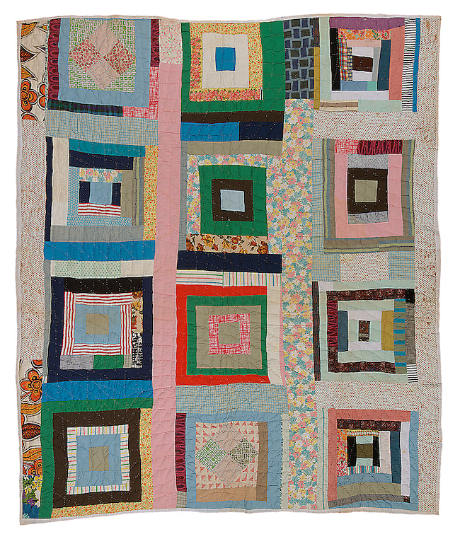 Hand-stitched quilt from Gee's Bend, Alabama. Housetop twelve block.