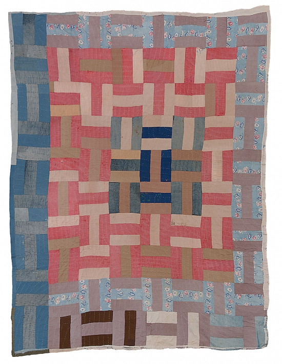 Hand-stitched quilt from Gee's Bend, Alabama. Basket weave.