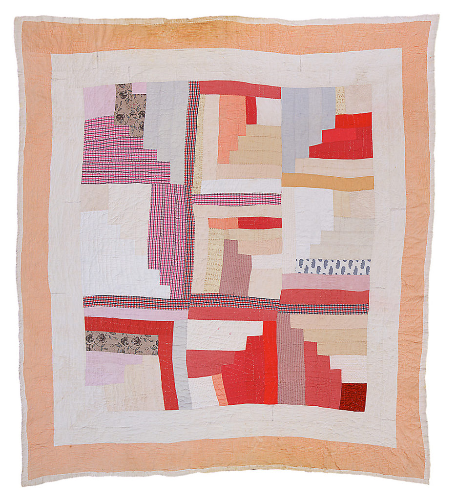 Hand-stitched quilt from Gee's Bend, Alabama. Log cabin.