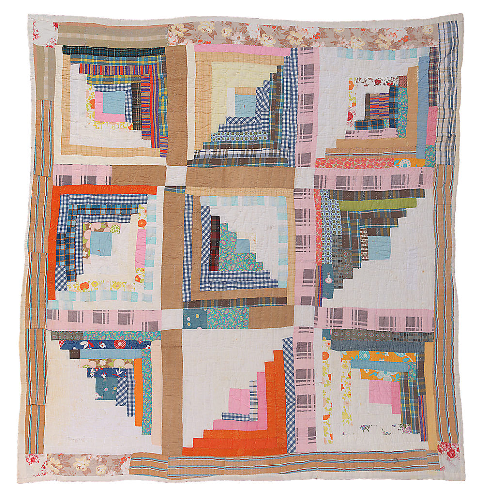 Hand-stitched quilt from Gee's Bend, Alabama. Log cabin nine block.