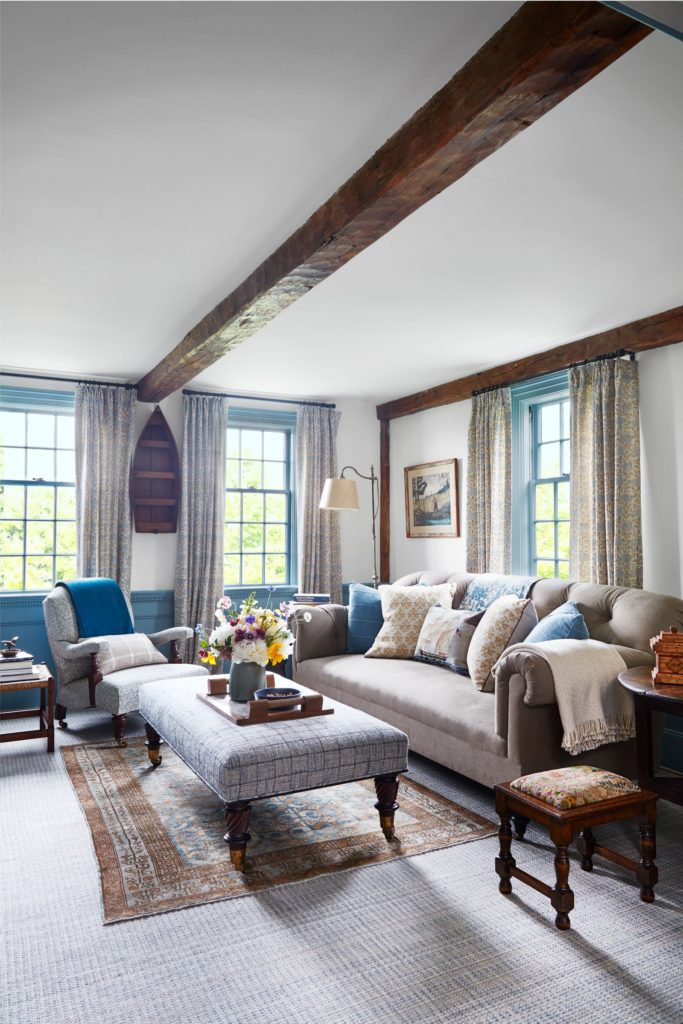 Sitting room in a Martha's Vineyard cottage decorated by Victoria Hagan