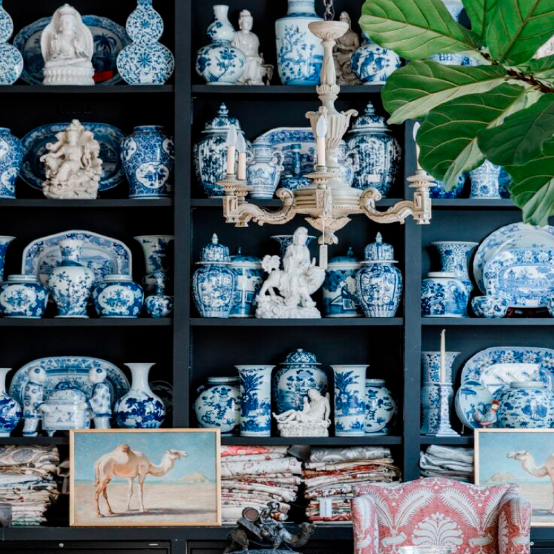 Blue and white porcelain on display at John Rosselli's antique shop in New York