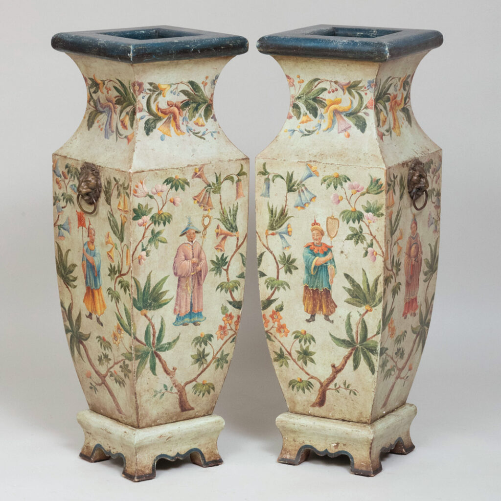 A pair of chinoiserie vases from the John Rosselli auction at Stair Galleries