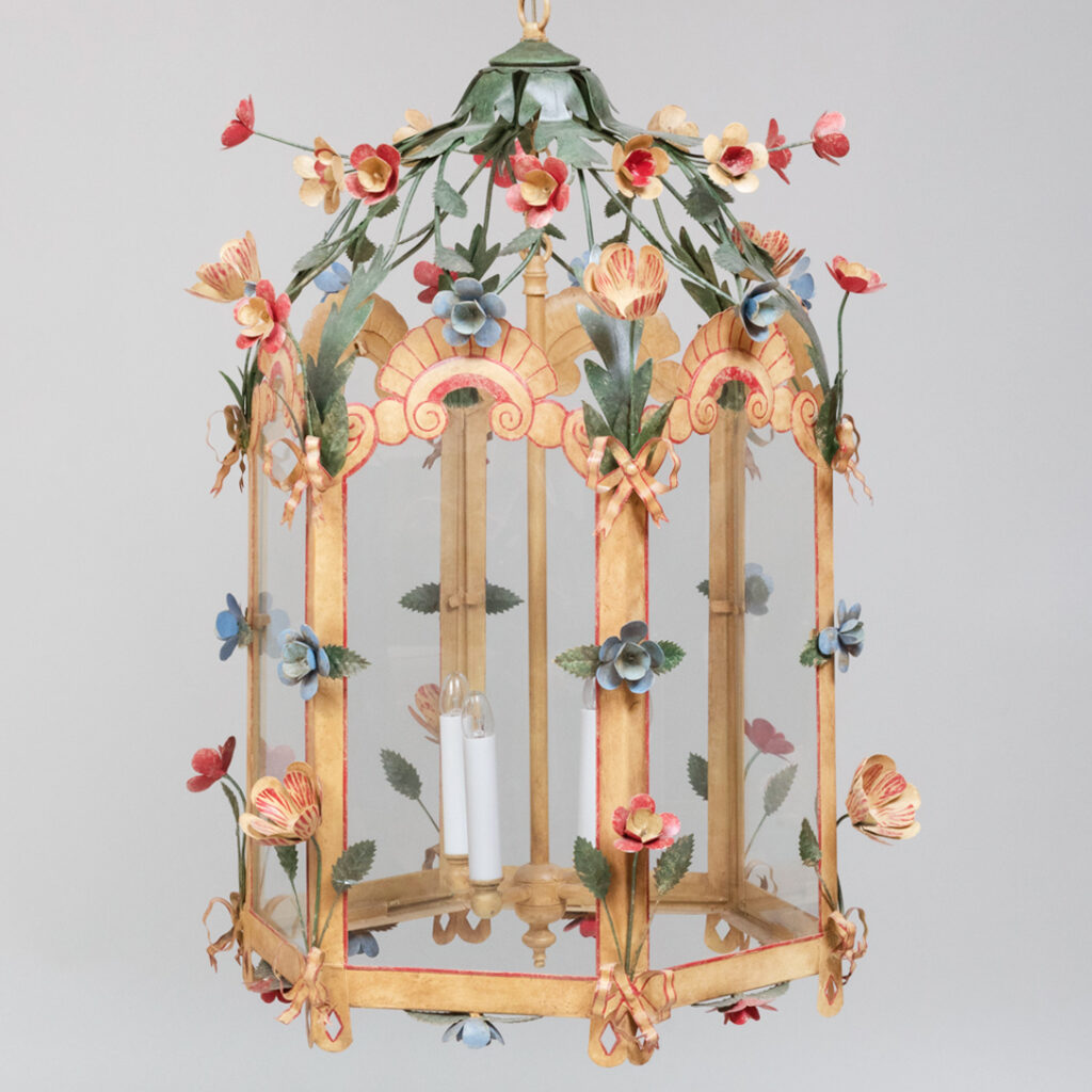 Floral tole lantern from the John Rosselli auction at Stair Galleries