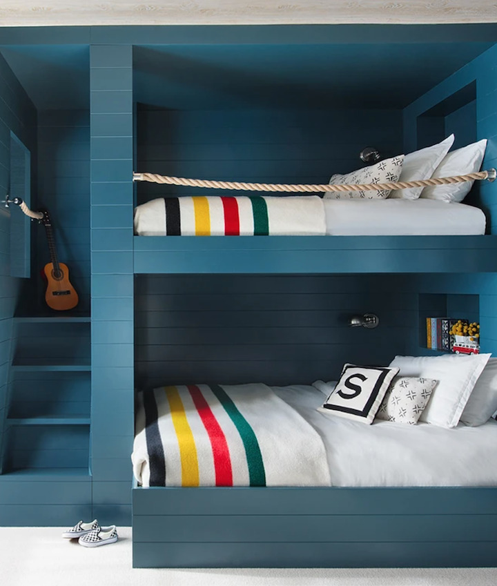Blue custom built-in bunk beds with Pendleton blankets