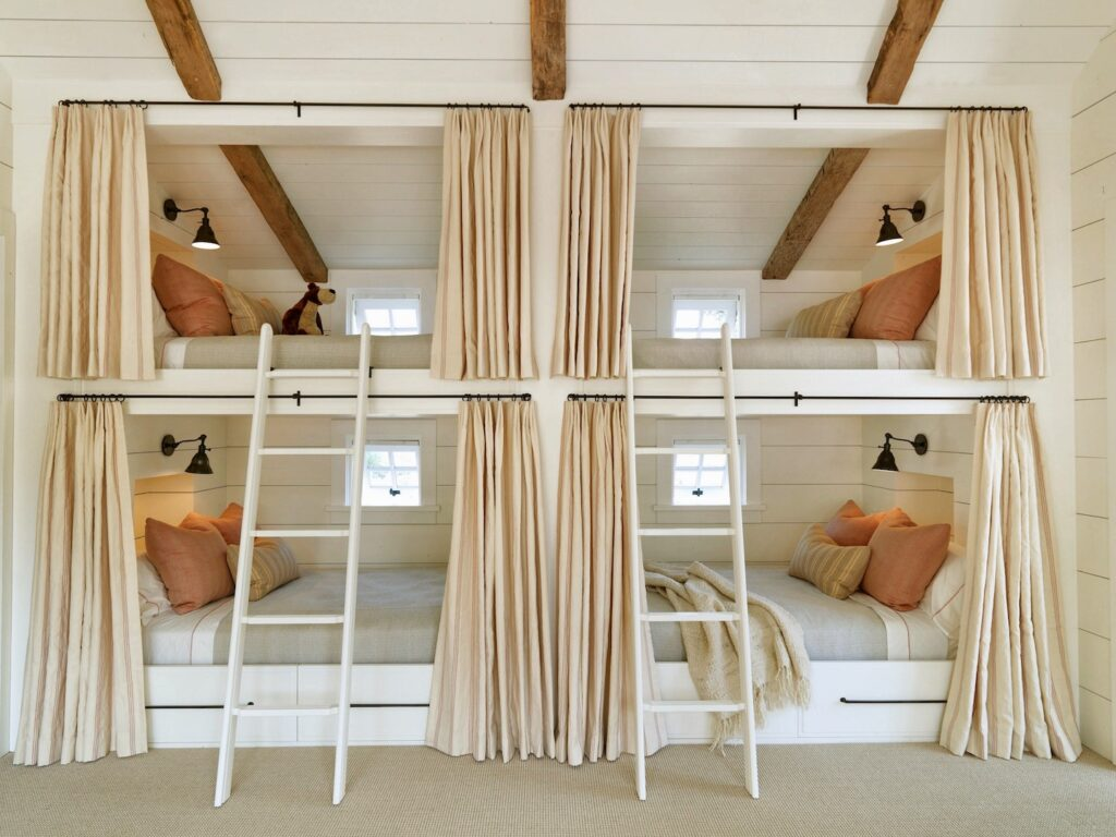 Custom built-in bunk beds for a special attic room