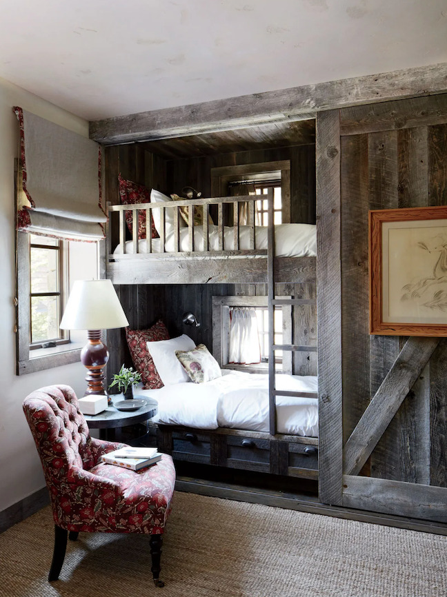 Custom built-in bunk beds for a rustic cabin