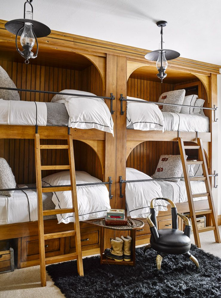 Custom built-in bunk beds for a rustic mountain cabin
