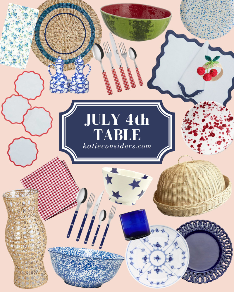 Fourth of July Tabletop finds including napkins and dinnerware in red, white, and blue!