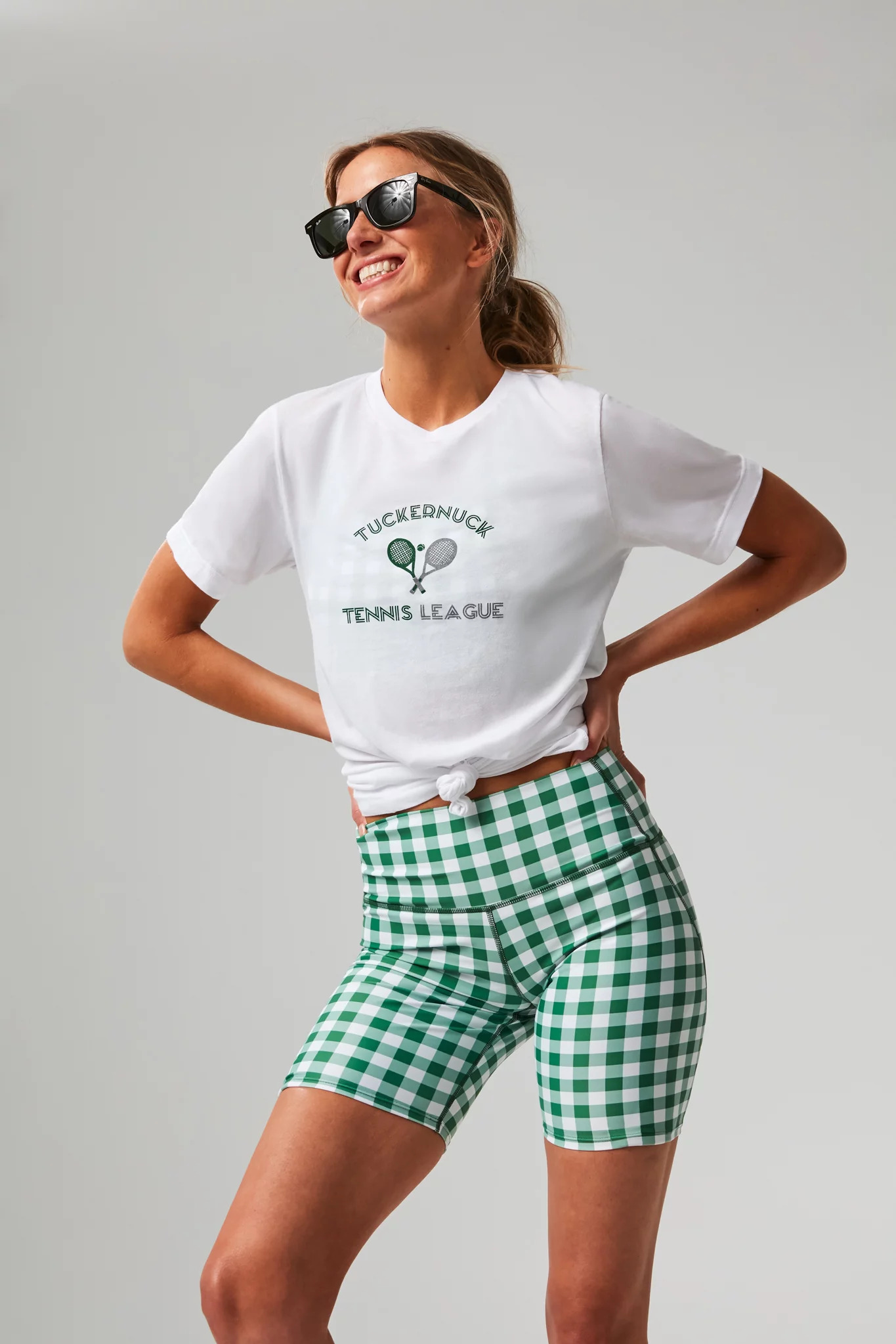 Green Gingham Bike Shorts Tennis Outfit Inspiration